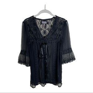 Free People Black Sheer Lace Silk Kimono